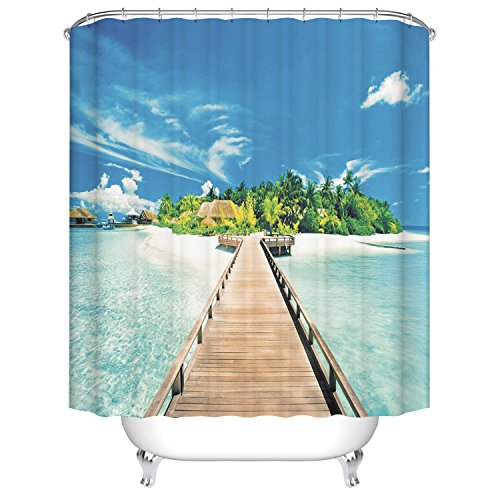 Qile 180 x 180cm Duschvorhang, Anti-Schimmel 100% Polyester Badewanne Duschvorhänge, 3D Effekt und Digitaldruck, Wasserdicht mit 12 weißen Haken (Sea Island)