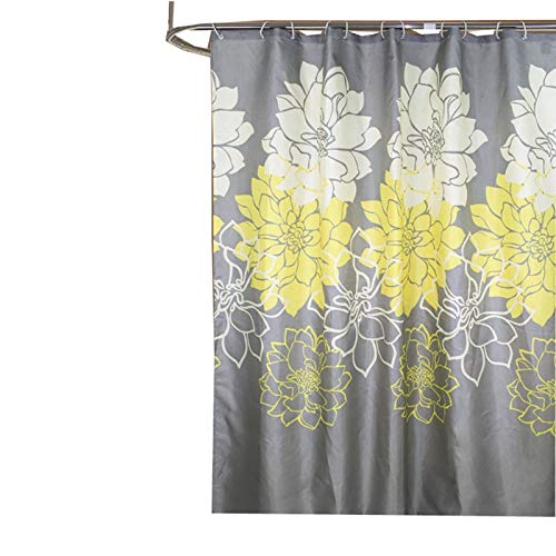 SonMo Duschvorhang Bicolor Pfingstrose Blume Polyester Gelb Wasserdicht Anti-Bakteriell Anti-Schimmelbadewanne Vorhänge mit Duschvorhangringen Verdicken 240×200CM