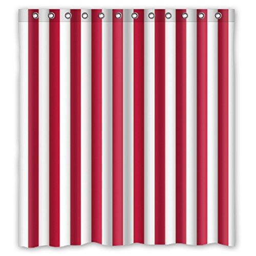 """DOUBEE Badezimmer Weiß und Rot Gestreifte Regenbogen Wasserdichtes Duschvorhang Shower Curtain 66 """"x 72"""",167cm x 183cm Mit Haken"""
