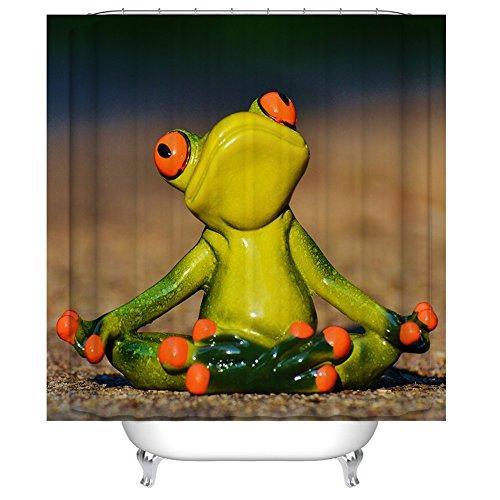 QEES Duschvorhang mit Bildern von Hund Katze Wolf Haustier Künstlerische Bilder Wasserdichter Duschvorhang aus Stoff Anti-Schimmel Textilien Wasserabweisend YLB02 (Dünner Frosch)
