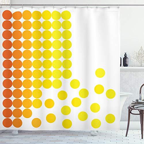 ABAKUHAUS Duschvorhang, Orange und Gelbe Kreise Geometrische Form und Leichter Farben übergang Digital Kunst Déco, Blickdicht aus Stoff inkl. 12 Ringe für Das Badezimmer Waschbar, 175 X 200 cm