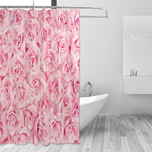 jstel Rosa Roses Polyester-Duschvorhang Schimmel resistent und wasserfest-182,9x 182,9cm für Home Extra Lang Badezimmer Deko Dusche Bad Vorhänge Liner mit 12Haken