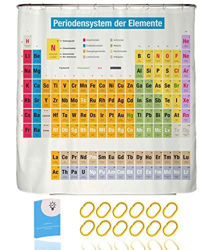 arteneur Periodensystem Deutsch Anti-Schimmel Duschvorhang 180x200 mit Anti-Klebe-Effekt, Wasserdicht, Waschbar, 12 Ringe & E-Book