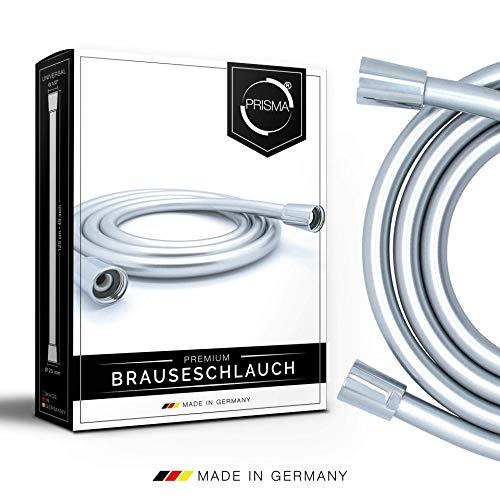 PRISMA Brauseschlauch 200cm mit doppeltem Verdrehschutz. Duschschlauch MADE IN GERMANY - Extrem flexibel, verdrehsicher, mit Knickschutz. Kunststoffschlauch mit Drehwirbel in Edelstahl-Optik