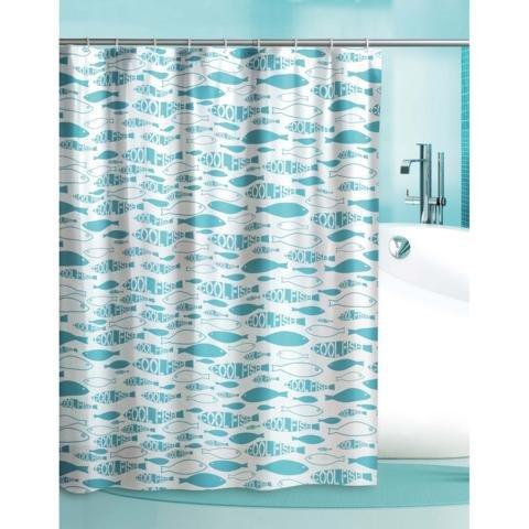 Duschvorhang Cool Fish Fische weiß türkis 180cm breit x 180cm lang mit Ringe Vinyl