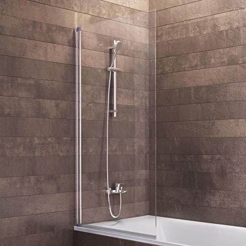 Schulte Duschwand Berlin, 70x130 cm, 5 mm Sicherheitsglas klar, alu-natur, Duschabtrennung für Badewanne