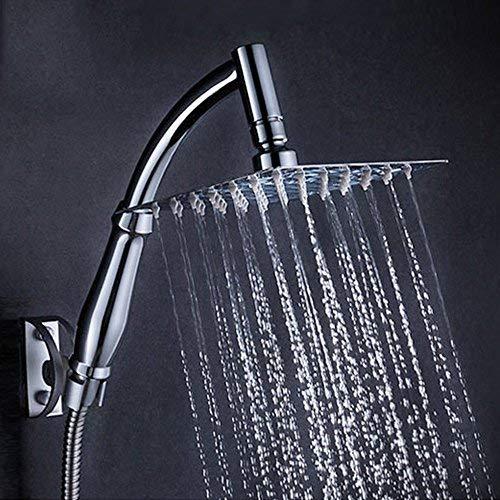 Regenschauer-Duschkopf, quadratisch, 20,3cm, Hochdruck, wassersparend, Drehgelenk, Duschkopf mit Halterung und Duschschlauch Style 01