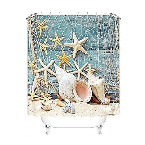 Seesterne und Muscheln Duschvorhang Anti Schimmel, viele schöne Duschvorhänge zur Auswahl, hochwertige Qualität, inkl. wasserdicht, Anti Schimmel Effekt, 180 x 180 cm