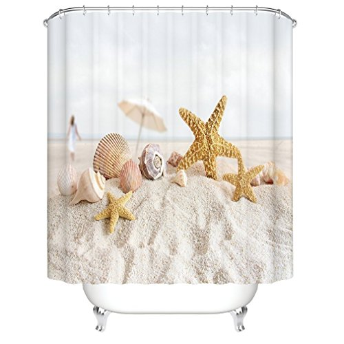 Strand & Seestern Duschvorhang, Qile Top Qualität Anti-Schimmel & Anti-Bakteriell 3D Duschvorhänge für Bad Badezimmer 180 x 180 cm + 12 Haken