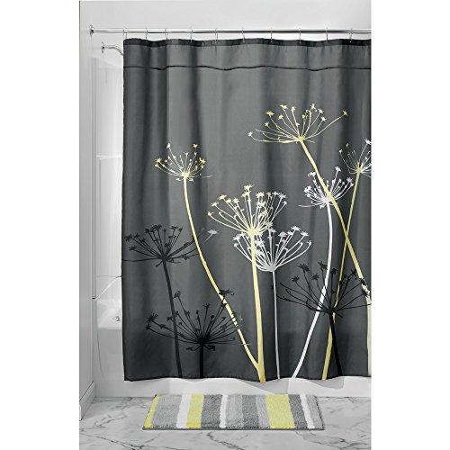 iDesign Thistle Duschvorhang | 183,0 cm x 183,0 cm großer Badewannenvorhang | waschbarer Duschvorhang aus weichem Stoff | mit Blumen-Motiv | Polyester grau/gelb