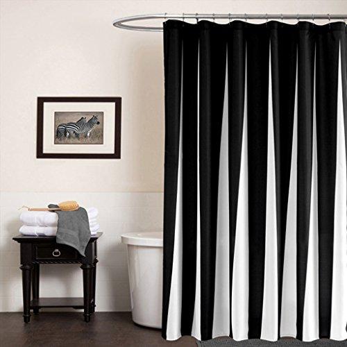 GWELL Schwarz Weiß Wasserdichter Duschvorhang Anti-Schimmel inkl. 12 Duschvorhangringe für Badezimmer 177x183cm
