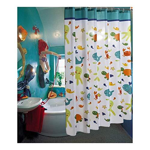SonMo Duschvorhang Karikatur Kind Polyester Bunt Anti-Schimmel Wasserdicht Anti-Bakteriellbad Vorhang für Badewanne Badezimmer mit Duschvorhangringen Verdicken 240×200CM