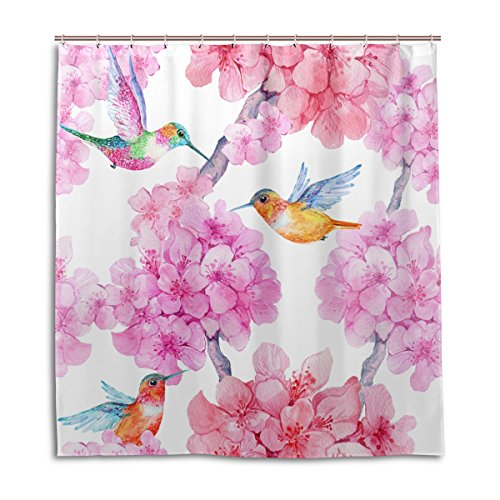mydaily Kolibri Blume Duschvorhang 167,6x 182,9cm, schimmelresistent & Wasserdicht Polyester Dekoration Badezimmer Vorhang