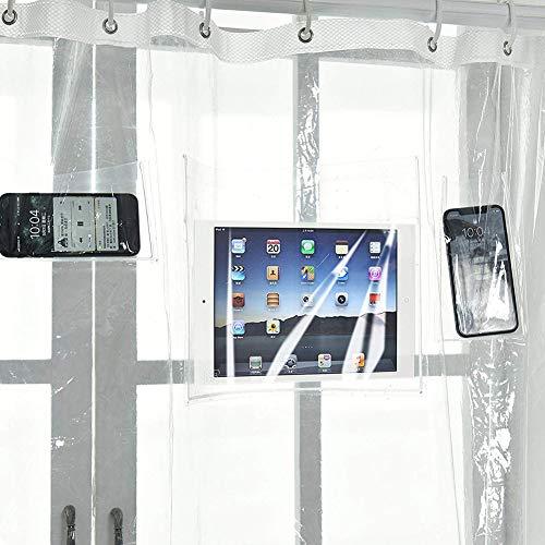 """shuhong Klarer Duschvorhangfutter 12 Berührungsempfindliche Taschen Wasserfestes Tablet Oder Handyhalter IPad,Transparent-70 * 70"""""""