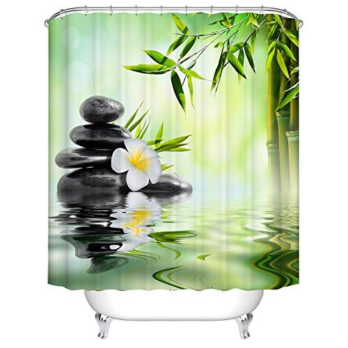 Qilerongrong Badezimmer Duschvorhang, Top Qualität Anti-Schimmel Duschvorhänge Digitaldruck inkl. 12 Duschvorhangringe, 180x180cm (Frangipani und Bambus)