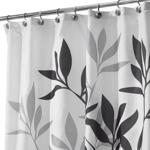 iDesign Leaves Duschvorhang | Designer Duschvorhang in der Größe 180,0 cm x 200,0 cm | schickes Duschvorhang Motiv mit Blättern | Polyester schwarz/grau
