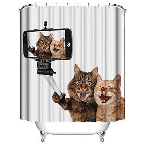 Topmail 3D Duschvorhang aus Polyester mit 12 Duschvorhangringe für Badezimmer wasserabweisend und Anti-Schimmel waschbare badvorhang (Katze, 180 x180 cm)