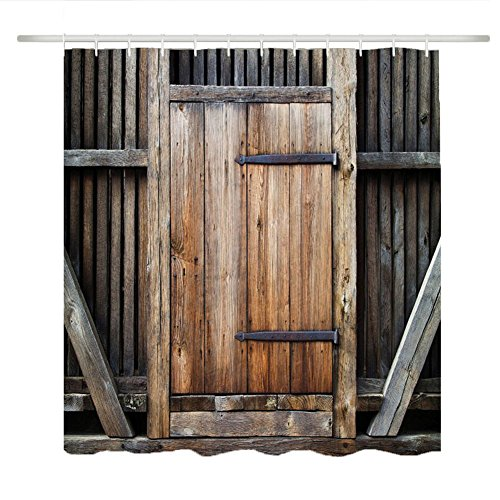 Maofacegirl Badezimmer-Duschvorhang-Sätze, 3D Gedrucktes Retro Weinlese-hölzernes Tür-Muster, Wasserdichtes Mehltau-beständiges, mit Haken. (Zauntür 180 * 180)