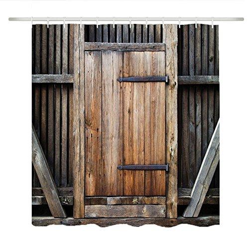 Maofacegirl Badezimmer-Duschvorhang-Sätze, 3D gedrucktes Retro Weinlese-hölzernes Tür-Muster, wasserdichtes Mehltau-beständiges, mit Haken. (Zauntür 180*180)