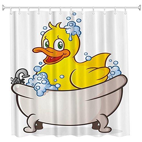 Perfectii Duschvorhang Badewannenvorhang, Schimmelresistenter und Wasserabweisend Ente 3D Gedruckt Badvorhang, 180x180cm mit 12 Ringe