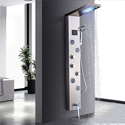 Rozin Bad Duschpaneel System Wasserturm LED Temperatur Bildschirm mit Handbrause Massagedüsen, Wasserfall und Niederschlag LED Duschkopf, gebürstetem Nickel Finish
