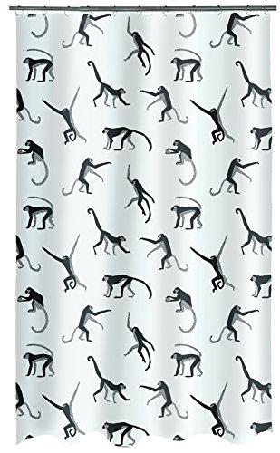 Spirella PEVA Monkey Black 180x200 cm Duschvorhang, Plastik, schwarz, 180 x 200 cm