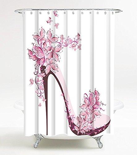 Duschvorhang Schuh 180 x 180 cm, hochwertige Qualität, 100% Polyester, wasserdicht, Anti-Schimmel-Effekt, inkl. 12 Duschvorhangringe