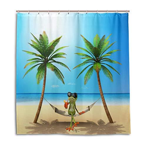 vinlin Strand-Frosch Wasserdichter Duschvorhang 167,6 x 182,9 cm, Polyester, Multi, 66x72 inch
