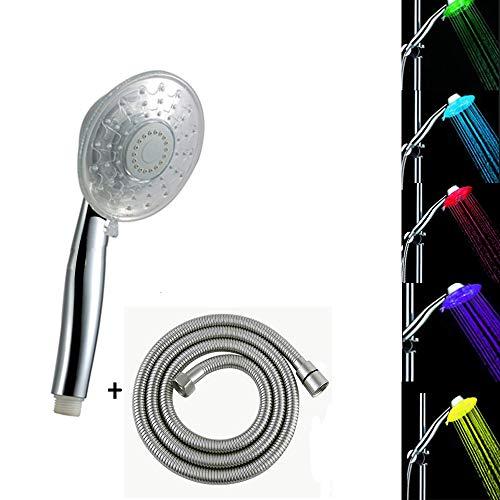 Led duschkopf mit schlauch 1.5m/farbwechsel 7/3 Funktion Handbrause Dusche set (7 Farben) (7 colors)
