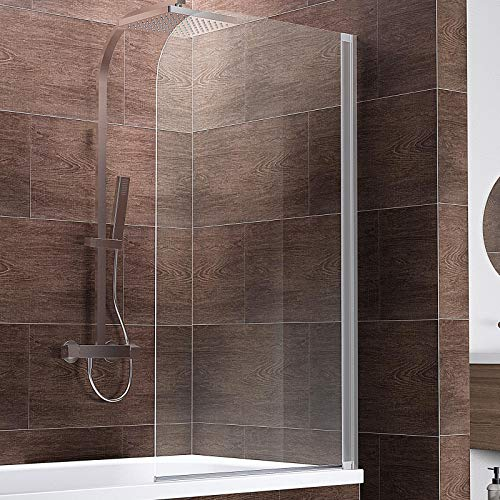 Schulte D1650 Duschwand Komfort, 80 x 140 cm, 5 mm Sicherheitsglas klar hell, alu natur, Duschabtrennung für Badewanne