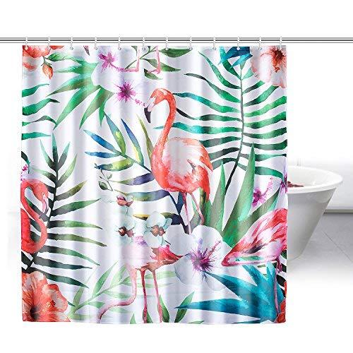 ZeWoo Flamingos Duschvorhang aus Stoff mit 12 Duschvorhangringe | wasserdichter Duschvorhang mit verstärktem Saum | waschbarer Textil Duschvorhang in der Größe 180x180cm (Flamingo 3)