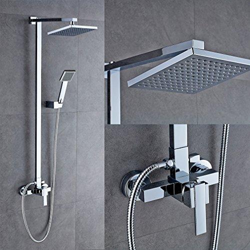Auralum® Design-Dusch-System für Regendusche, Set mit Stange, Thermostatmischer und Duschkopf