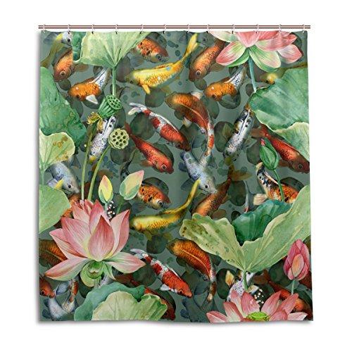 mydaily Koi carps Fisch Blume Watercolor Duschvorhang 167,6x 182,9cm, schimmelresistent & Wasserdicht Polyester Dekoration Badezimmer Vorhang
