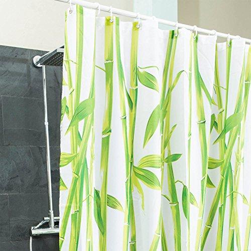 Goods & Gadgets Duschvorhang Bambus Textil - Hygienisch & elegant | Badewannen-Vorhang 100% Polyester Badewanne Anti Schimmel 180 x 200 cm waschbar | Dekoration Feng Shui Bamboo | asiatischer Stil