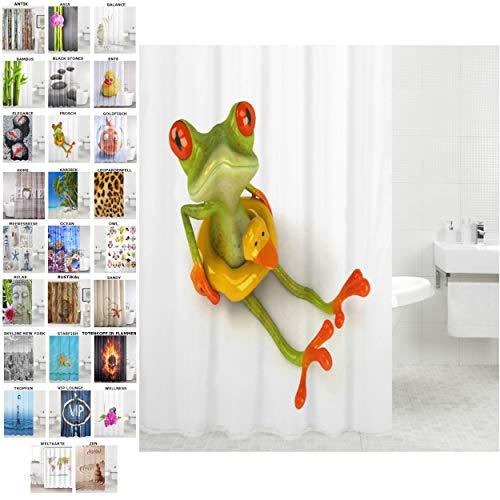 Sanilo Duschvorhang, viele schöne Duschvorhänge zur Auswahl, hochwertige Qualität, inkl. 12 Ringe, wasserdicht, Anti-Schimmel-Effekt (Frosch, 180 x 180 cm)