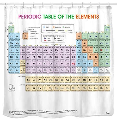 Sunlit Duschvorhang, Motiv: Periodensystem der Elemente, Wasserdichtes Material, Weich und geruchlos