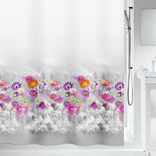 Spirella Anti-Schimmel Duschvorhang Abella Blumen Anti-Bakteriell, waschbar, wasserdicht Polyester 180x200cm