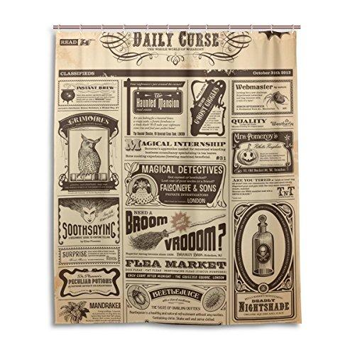 Bad Vorhang für die Dusche 152,4x 182,9cm, Retro Vintage Zeitung, Polyester-Schimmelfest-Badezimmer Vorhang