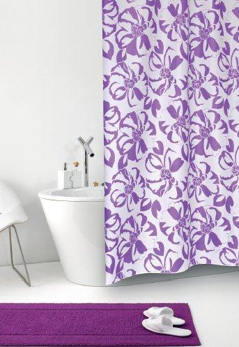 wohnideenshop Duschvorhang Tessuto Giglio weiß lila Blumen Textil 240cm breit x 200cm lang inkl. Ringe
