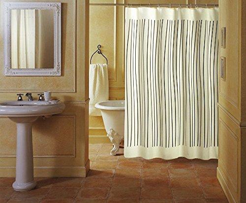 GELCO Textil-Duschvorhang 'ZEBRA' 180x200 cm - weiß/beige mit schwarzen Streifen - elder DESIGN-Duschvorhang - Made in France