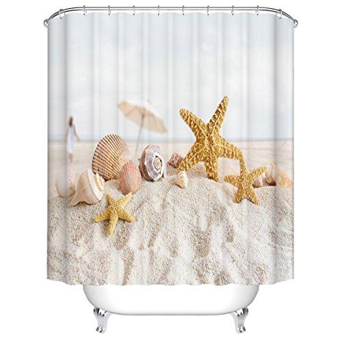 Qilerongrong Seestern Duschvorhang Anti-Schimmel Polyester Duschvorhänge wasserdicht antibakteriell mit 12 Haken (180 x 180cm)
