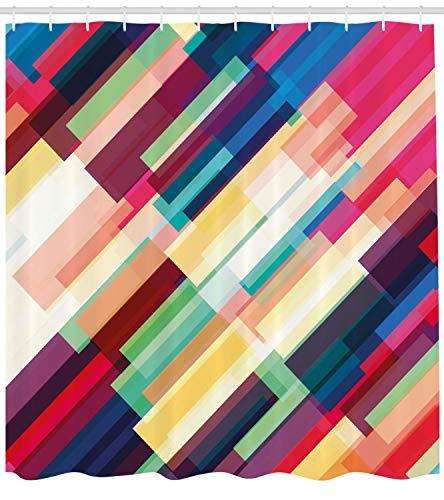 Abakuhaus Duschvorhang, Diagonale Bunte Streifen in Moderne Kunst Vierecke Lebensvolle Bestreitung Farbenvoller Druck, Blickdicht aus Stoff inkl. 12 Ringe für Das Badezimmer Waschbar, 175 X 200 cm