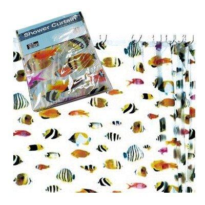 HAB & GUT -DV045- Duschvorhang 180x180 cm, bunte Korallenfische, transparent, inkl. Kunststoffhaken