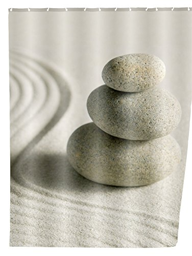 WENKO 20968100 Duschvorhang Sand & Stone - waschbar, mit 12 Duschvorhangringen, Kunststoff - Polyester, Mehrfarbig