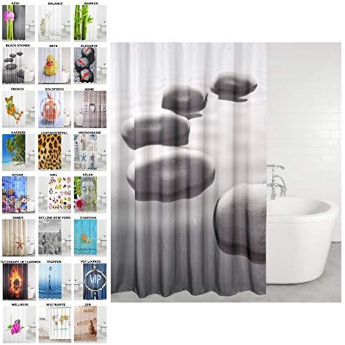 Duschvorhang, viele schöne Duschvorhänge zur Auswahl, hochwertige Qualität, inkl. 12 Ringe, wasserdicht, Anti-Schimmel-Effekt (Black Stones, 180 x 180 cm)