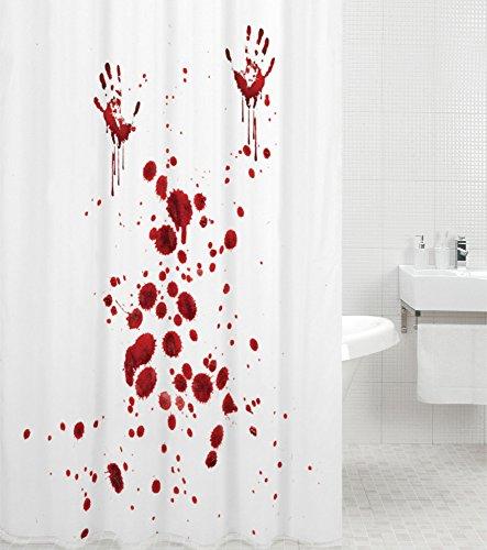 Duschvorhang Blood Hands 180 x 180 cm, hochwertige Qualität, 100% Polyester, wasserdicht, Anti-Schimmel-Effekt, inkl. 12 Duschvorhangringe