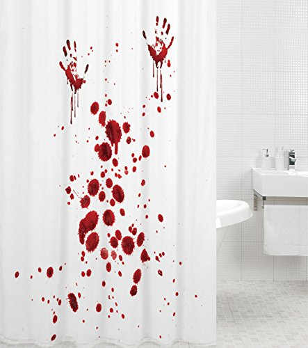 Duschvorhang, viele schöne Duschvorhänge zur Auswahl, hochwertige Qualität, inkl. 12 Ringe, wasserdicht, Anti-Schimmel-Effekt (Blood Hands, 180 x 200 cm)