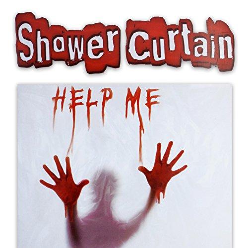 "Blutiger Duschvorhang ""HelpME"" witziger Badvorhang mit Gruseleffekt"