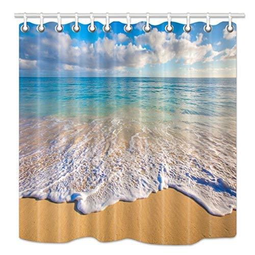 hnmq Tropical Ocean Vorhang für die Dusche, Strand und Wellen bei Sonnenaufgang, Sonne auf Meer, Upgrades Schimmelresistent Stoff Badezimmer Dekorationen, Bad Vorhänge Haken enthalten, 175,3x 177,8cm