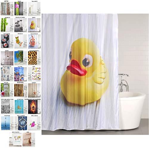 Sanilo Duschvorhang, viele schöne Duschvorhänge zur Auswahl, hochwertige Qualität, inkl. 12 Ringe, wasserdicht, Anti-Schimmel-Effekt (Ente, 180 x 200 cm)